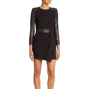 The Kooples  Hopla Black Leather  trimmed dress